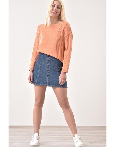 Μπλούζα πλεκτή με μακρύ μανίκι σε χρώμα apricot