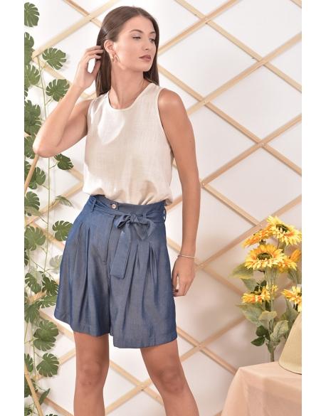 Μπλούζα λινή με φαρδιά ράντα σε μπεζ χρώμα