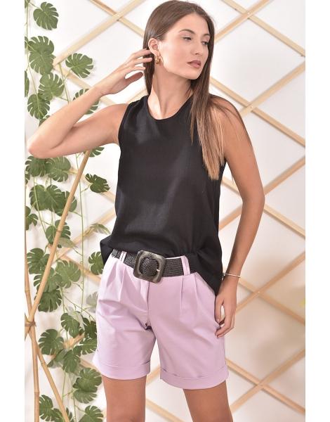 Μπλούζα λινή με φαρδιά ράντα σε μαύρο χρώμα